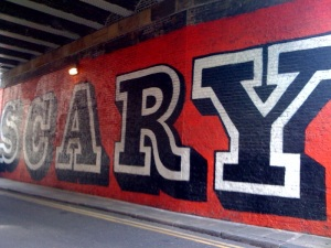 Scary graffiti in tunnel at end of Rivington Street