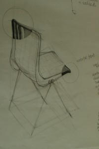 drawing of robin day style chair using contour lines and rendering techniques