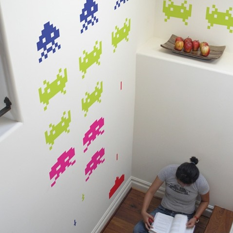 Blik space invader wall graphics