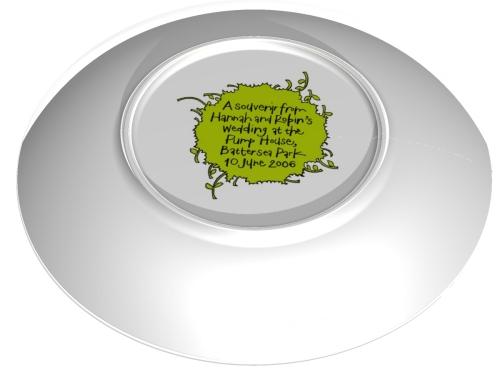 Robin Farquhar & Hannah Dipper's commemorative wedding plate back