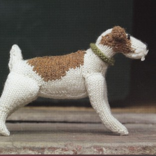 Knitted Fox Terrier by Muir and Osbourne courtesy of Tea and Sympatico