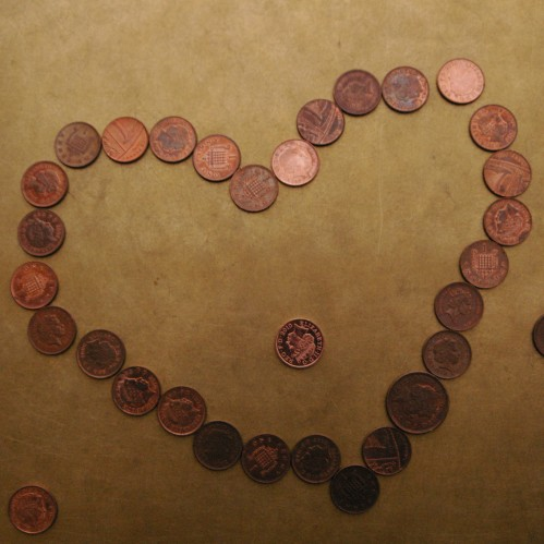 Heart made from pennies on Paul Cocksedge's Drop installation