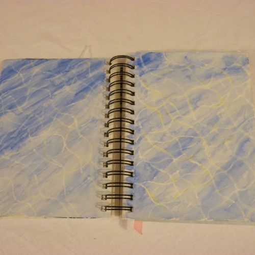Wax crayon and watercolour pencils - inspired by swimming pool