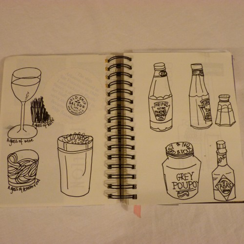 Line drawings of everything on the bar in the Old Ship Saloon (inspired by Kate Bingham-Burt)