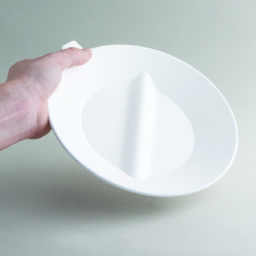 Assistive plate with divider to separate soft foods