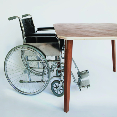 Flat bottomed table for wheel chair access