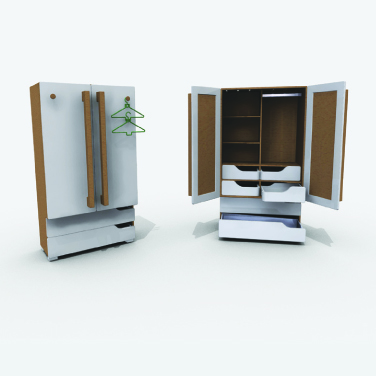Wardrobe designed to assist people of different abilities in the process of dressing