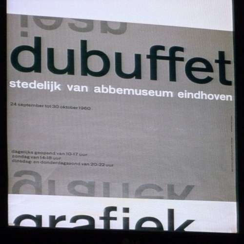 Debuffet poster on screen at Design Museum