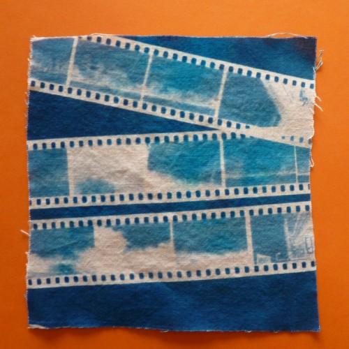 Slide film fabric cyanotype