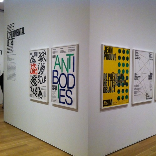 Selection of posters designed for Hyperlinks exhibition, Art Institute of Chicago. (Photo by James Goggin)