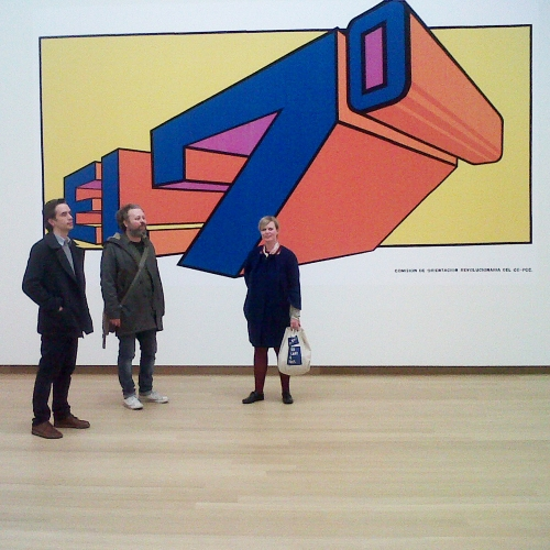 From left to right: Erwin, Danny, Marieke. Poster part of the 'La Zafra de los Diez Millones' series, by Olivio Martinez Viera, Stedelijk Museum. (Photo by Karina Bisch)