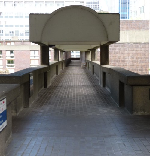 One of the Barbican Estate's many raised walkways or 'pedways'