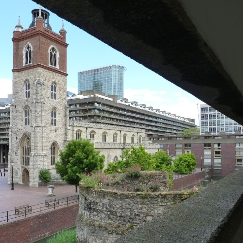 Section of London Wall and St Giles Church, viewed from residential walkway