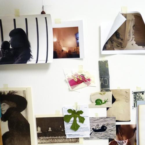 Inspirational images stuck up above Gemma Fripp's desk
