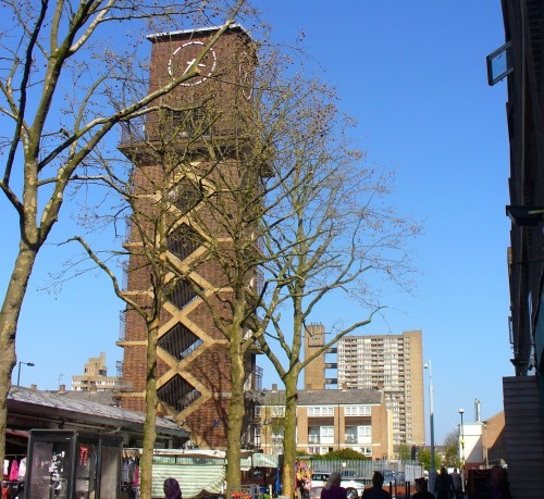 Clock Tower in Lansbury's Estate with Goldfinger's Balfron Tower in the background, 2011