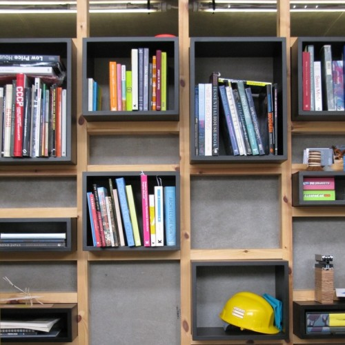 Spruce plywood and black mdf library / display wall
