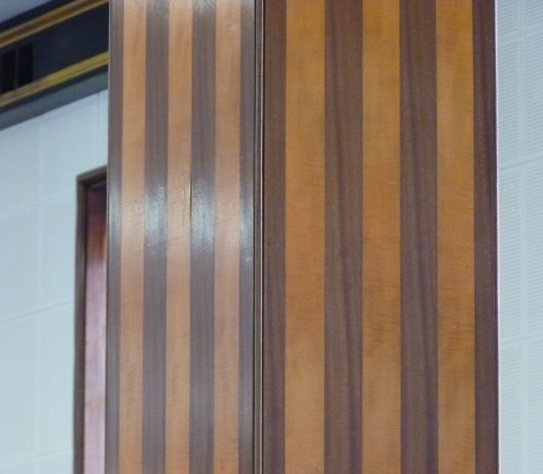 Light and dark wood 'jazzy' striped columns