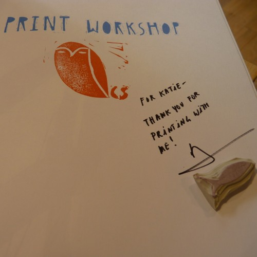 My copy of Print Workshop signed by Christine Schmidt and the little fish stamp she made me!