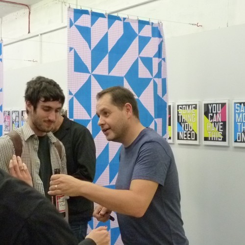 Anthony Burrill at the Outline Editions preview (no doubt extolling the virtues of crunchy peanut butter!)