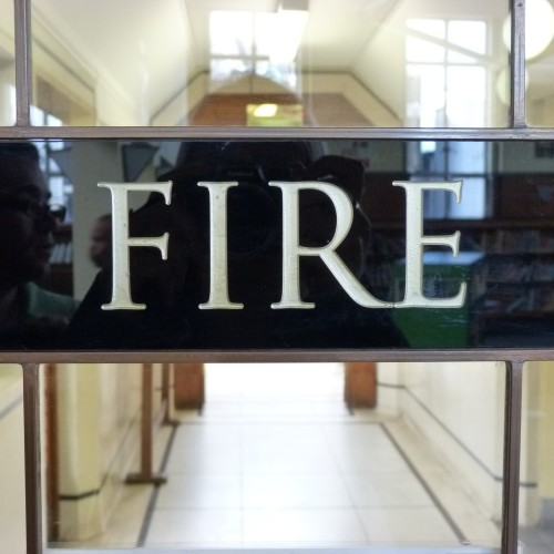 Fire door within Leytonstone Library