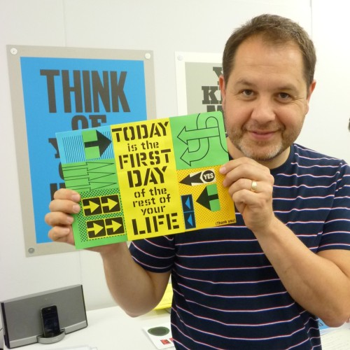 Anthony Burrill holding my masterpiece
