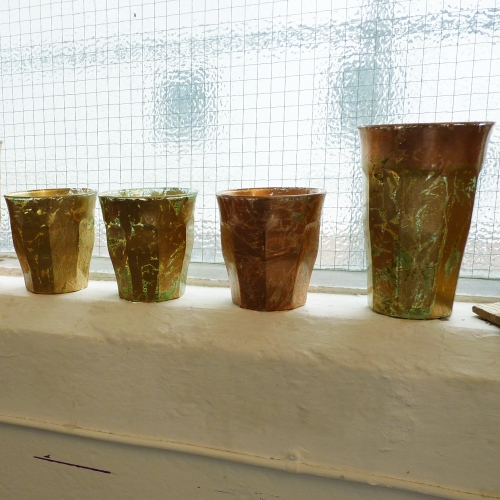 Alexandra's Duralex glasses now tea light holders and vases for Belleville Boutique and Café